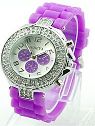 Women's Fashion Watch Quartz Silicone Band Casual Green Purple Yellow