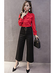 Sign 2017 new metal ring zipper nine points was thin waist wide leg pants black casual pants