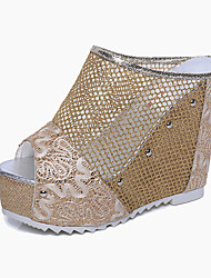 Damen Schuhe PU Frühling Komfort Sandalen Flacher Absatz Für Normal Gold Schwarz Silber