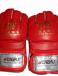 Boxing Gloves for Boxing Full-finger Gloves Breathable Wearproof Protective PU Black Red