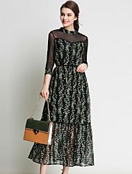 Damen Hülle Chiffon Kleid-Party/Cocktail Ausgehen Einfach Druck Ständer Maxi ¾-Arm Polyester Frühling Sommer Mittlere Hüfthöhe