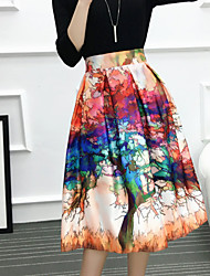 Women's Going out Casual/Daily Knee-length Skirts,Cute A Line Pleated Print Spring Summer