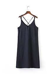 Women's Casual/Daily Loose Dress,Striped V Neck Knee-length Sleeveless Rayon Summer High Rise Micro-elastic Thin