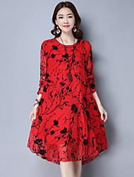 Real tiro verão 2017 moda impresso seda vestido de mangas compridas de manga comprida falso vestido de duas peças