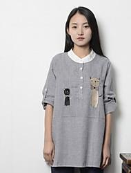 Damen Gestreift Einfach Lässig/Alltäglich T-shirt,Ständer Langarm Baumwolle