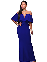 Women's Ruffle Off Shoulder Maxi Party Dress