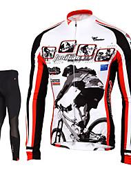 TASDAN Maillot et Cuissard Long de Cyclisme Homme Manches longues VéloCollants Pantalon/Surpantalon Maillot Hauts/Tops Ensemble de