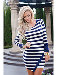 Women's Casual/Daily Sexy Bodycon Dress,Striped Round Neck Above Knee Long Sleeve Others All Seasons Low Rise Micro-elastic Medium