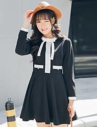 Printemps nouveau petit parfum vent bow jupe noire un mot était mince robe à manches longues