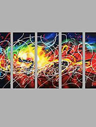 Hand-Painted Abstract Vertical,Modern Five Panels Canvas Oil Painting For Home Decoration