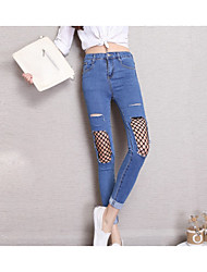 Women's Skinny Jeans Pants,Casual/Daily Street chic Solid Mid Rise Zipper Others Inelastic All Seasons