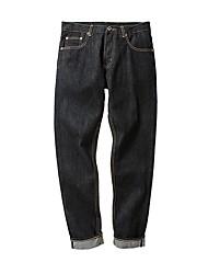 Men's Mid Rise Micro-elastic Jeans Pants,Simple Skinny Tassel Solid