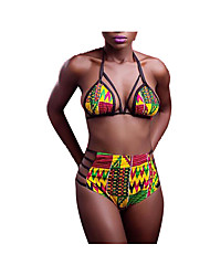 Women's Halter Bikini,Color Block Nylon Multi-color