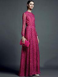 8302 # grand rose rouge léopard automne femmes&Les femmes de n&# 39; s dresses temperament femme à manches longues