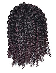 1 Pack 8inch Black Dark Wine Mix Curly Afro Kinky Mali Bob Braids Hair Extensions Kanekalon Hair Braids 30g (5-6packs/head)