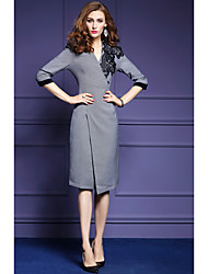 Women's Casual/Daily Sophisticated Bodycon Dress,Solid V Neck Above Knee Long Sleeve Others All Seasons Mid Rise Micro-elastic Medium