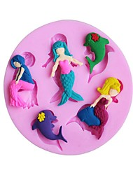 1Pcs 7.7Cm*7.7Cm*1Cm  3D Silicone Mermaid And The Little Dolphin Mold Modelling Chocolate Sugar Baking Cake Tools