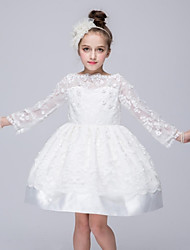 Ball Gown Short / Mini Flower Girl Dress - Organza Long Sleeve Bateau with Appliques Bow(s) Flower(s)