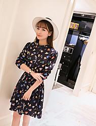 Korea purchasing 2016 spring new cartoon leaf print floral chiffon dress women long sleeve base