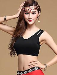 Devrions-nous les tops de danse du ventre femmes formations modales 1 pièce costumes de danse solide sans dos sans manches top noir