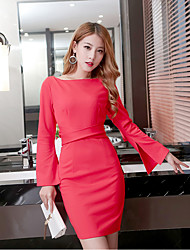 Sign Hitz Women Korean ladies round neck Slim speaker sleeve lace dress