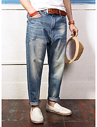 Men's Mid Rise Stretchy Jeans Pants,Simple Loose Solid