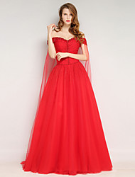 Formal Evening Dress Ball Gown Off-the-shoulder Floor-length Tulle with Beading