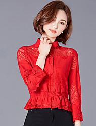 Кружевная рубашка женский корейский тонкий полый воротник короткая рубашка длинный рукав рубашка 2017 новый весенний прилив