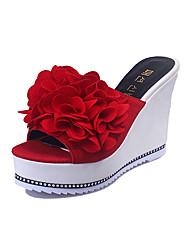 Women's Sandals Summer Slingback PU Casual Wedge Heel Buckle Walking