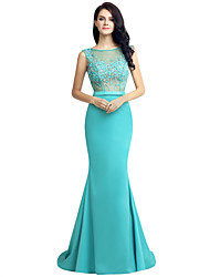 Mermaid / Trumpet Jewel Neck Sweep / Brush Train Tulle Matte Satin Formal Evening Dress with Beading
