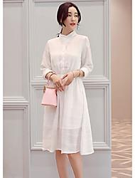 Sign 2017 spring new elastic waist skirt chiffon dress shirt collar and long sections Women