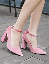 Damen-High Heels-Lässig-Wildleder-Blockabsatz-Komfort-Schwarz Rosa