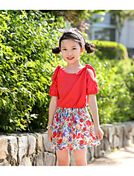 Girl's Going out Holiday Solid Dress,Cotton Summer Short Sleeve