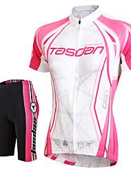 TASDAN Maillot et Cuissard de Cyclisme Femme Manches courtes Vélo Cuissard  / Short Maillot Shorts Rembourrés Manchettes Hauts/Tops