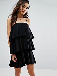 verano del nuevo vestido de la correa salvaje de la torta de la falda del volante de la moda europea y americana