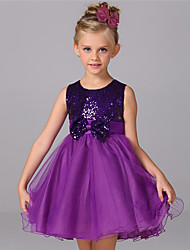 Ball Gown Knee-length Flower Girl Dress - Cotton Satin Tulle Sequined Jewel with Bow(s) Sequins