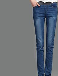 sud commandes corée taille élastique jeans taille élastique pieds féminins pantalons crayon mm tache étudiants droite