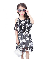 Girl's Beach Solid Floral Dress,Polyester Summer Short Sleeve