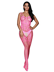 Women's Rosy Strappy Shoulders Floral Motif Mesh Body Stockings