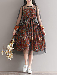 Loose long-sleeved floral chiffon dress skirt long section of the sling mesh veil piece real shot