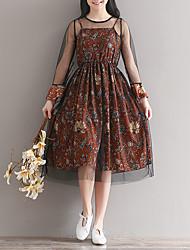 Solta de mangas compridas floral chiffon vestido seção saia longa do sling malha véu peça tiro real