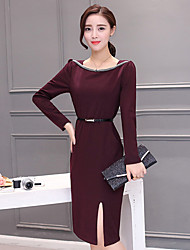 Sign in early spring 2017 women's fashion Korean version of the long section long-sleeved dress slit skirt package hip tide