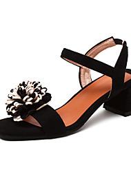 Damen-Sandalen-Outddor Kleid-Kunstleder-Blockabsatz-Komfort Fersenriemen-Schwarz Braun