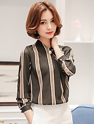 Women's Casual/Daily Formal Work Cute Street chic Blouse,Striped V Neck Long Sleeve Polyester