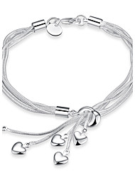 Exquisite Silver Plated Sweet Heart Pendant Chain & Link Bracelets Jewellery for Women Accessiories