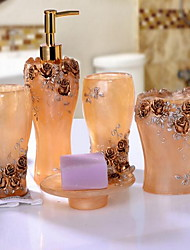 European Pastoral Resin Bathroom Set of 5 Objects