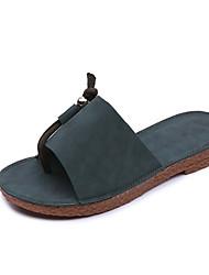 Feminino-Chinelos e flip-flops-Conforto-Rasteiro-Preto Verde Khaki-Couro Ecológico-Casual