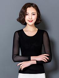 Damen Solide Sexy Lässig/Alltäglich T-shirt,Rundhalsausschnitt Langarm Nylon