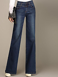 Women's High Rise Stretchy Jeans Pants,Simple Slim Bootcut Solid