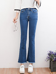 Women's Bootcut Jeans Pants,Casual/Daily Simple Solid Mid Rise Zipper Rayon Micro-elastic All Seasons